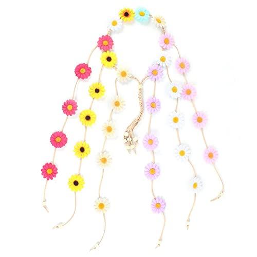 BDZC Corona Elegante Diseño Sol Flores Margarita Flor Diadema Seda paño Verano Playa Hairbands Vacaciones Padre-niño Accesorios de Pelo Guirnalda Adecuado para Banquete de Boda (Color : 07)