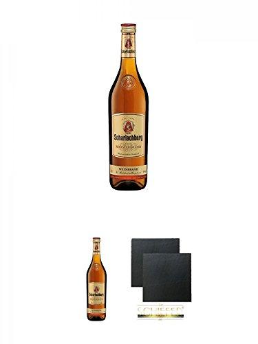 Scharlachberg deutscher Weinbrand 0,7 Liter + Scharlachberg deutscher Weinbrand 0,7 Liter + Schiefer Glasuntersetzer eckig ca. 9,5 cm Ø 2 Stück