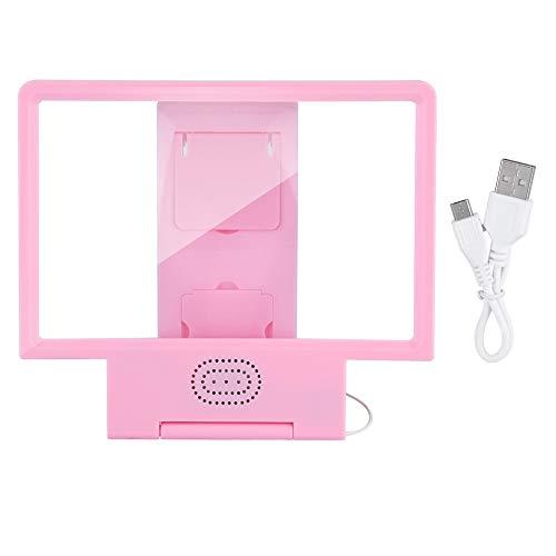 Draagbare mobiele telefoon scherm vergrootglas Video HD vergrootglas beugel vergroten scherm en luidspreker roze