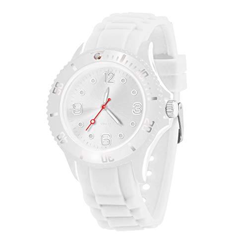 Taffstyle Farbige Sportuhr Armbanduhr Silikon Sport Watch Damen Herren Kinder Analog Quarz Uhr 39mm Weiß