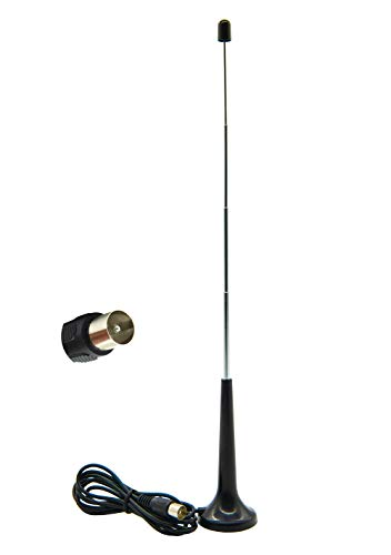 Vecys Antenna FM UKW Antenna TV Digitale Adattatore Spina TV 5 dBi 75ohm Mini TV VHF/UHF Antenna base magnetica 1,5m Cavo da 4,92 Piedi Compatibile per Radio FM DVB-T T2 DAB HDTV DTMB Pioneer