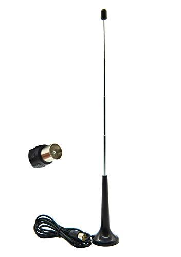 Vecys Antena FM UKW Antena TV Digital Adaptador Enchufe TV 5 dBi 75ohm VHF/UHF Mini TV Antena Base Magnética 1.5m 4.92ft Cable Compatible para Radio FM DVB-T T2 Dab HDTV DTMB Pioneer Marantz