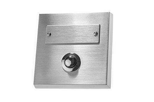 HUBER Aufputz Klingeltaster 1-fach aus Echtmetall - Türklingelknopf mit Namensschild - Haustürklingel Aufputz - Klingelschalter, Klingel