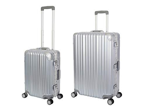 Travelhouse London Koffer Silber S-55cm, L-55cm · 2er-Set · Alu-Rahmen · Polykarbonat Hartschale · Handgepäckkoffer +Reisegepäck Reise Trolley Reisekoffer...