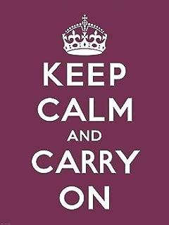 Keep Calm and Carry On Vintage Art (Propaganda, Motivational, Purple) Poster Print 16x20