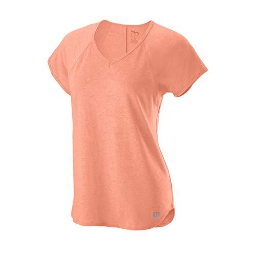 Wilson Mujer, W TRAINING V-NECK TEE, Camiseta de tenis cuello en V, Poliéster/Nailon, Orange (Papaya Punch), Talla S, WRA775906