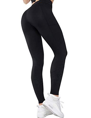 GLESTORE Sporthose Damen Leggins Lange Blickdicht Fitnesshose Hohe Taille Yogahose mit Taschen Tights mit Netzeinsätzen Schwarz S