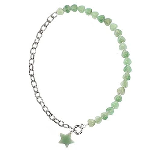 Piedra natural estrella corazónjoyería demodapiedras naturales con collares pendientes semipreciosos mujeres collar bohemio regalo