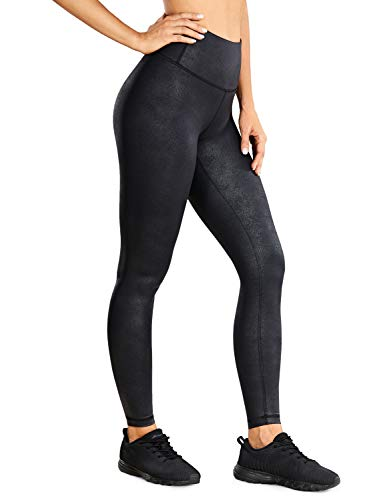CRZ YOGA Women's High Waisted Faux Leather Leggings Stretchy Yoga Pants Lightweight Workout Tights -28 Inches Black Medium