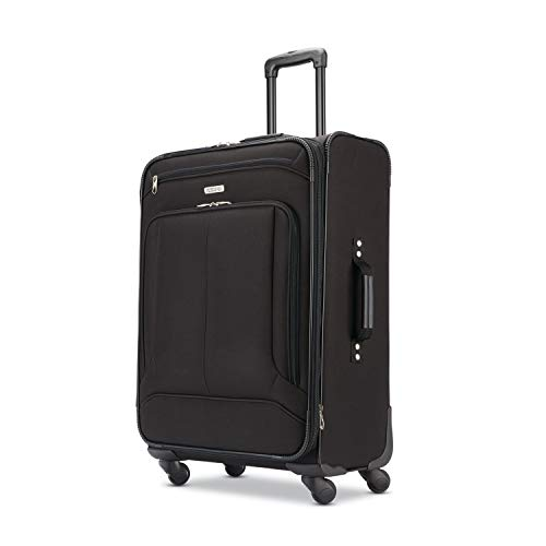 American Tourister Pop Max Softside Luggage with Spinner Wheels, Black, Checked-Medium 25-Inch