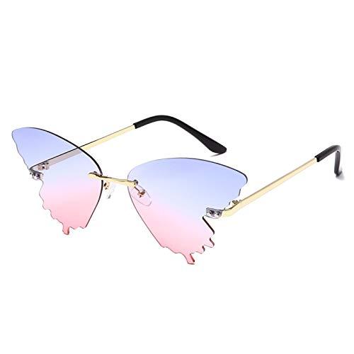 Sunglasses Gafas de Sol de Moda Personalidad Mariposa Gafas De Sol Hombres Mujeres Moda De Lujo Tonos Uv400 Vintage Azul