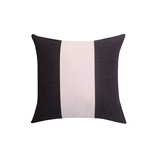 Toll2452 Striped decorative pillow cover Black and white throw pillow covers Linen pillow cases Geometric cushion case Home decor 18x18
