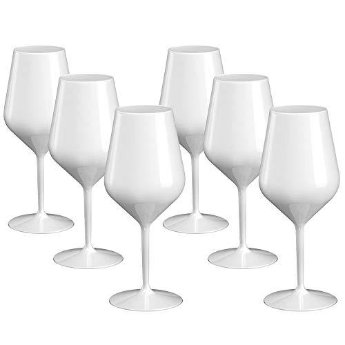 DoimoFlair Weingläser aus Kunststoff bruchsicher Weinbecher Sektgläser Plastik Weiß 46 cl. Set 6 Stück