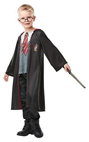 Rubie's - Kit de Déguisement Officiel Harry Potter - Robe Gryffondor + Haut Imprimé + Baguette + Lunettes, enfant, H-300142M, Taille M 5 à 6 ans