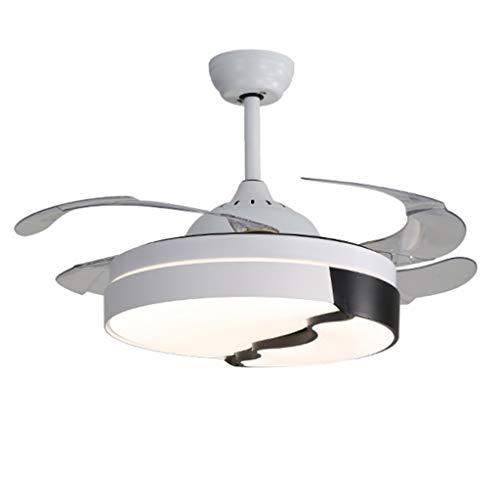 Ventiladores para el techo con lámpara 42 Pulgadas moderna Ventilador de techo retráctil regulable LED de iluminación y control remoto luz del ventilador, for sala de estar dormitorio Ventilador de te