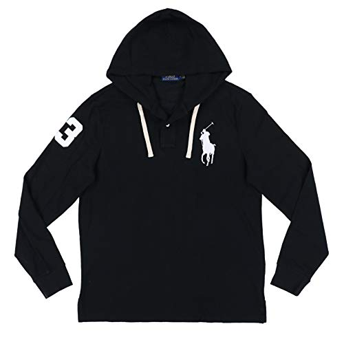 Ralph Lauren Mens Big Pony Mesh Knit Hooded Tee (Large, Black)