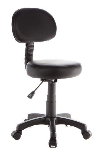 hjh OFFICE 685275 silla giratoria DISC PLUS piel sintética negro silla de trabajo acolchado con respaldo ajuste de altura