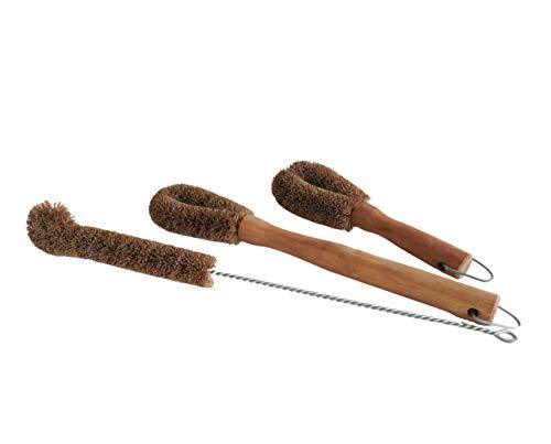 NineLives Juego de 3 cepillos de cocina de fibra natural I Cepillo para botellas ecológico vegano cepillo para lavar platos y verduras de fibra de coco