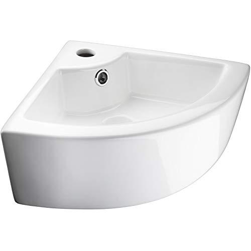 TecTake 800444 Keramik Waschbecken Hängewaschbecken Aufsatzwaschbecken Eckwaschbecken | Weiß | -diverse Modelle- (Typ 2 Eckwaschbecken | Nr. 402570)