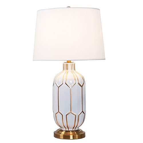 SMWZFDD Lámpara de Lectura Ligera de Trabajo Crema Decorativo de cerámica Oriental lámpara de Mesa, latón Antiguo Dormitorio lámpara de cabecera E27 Interruptor de botón la Tela lámpara de Mesa
