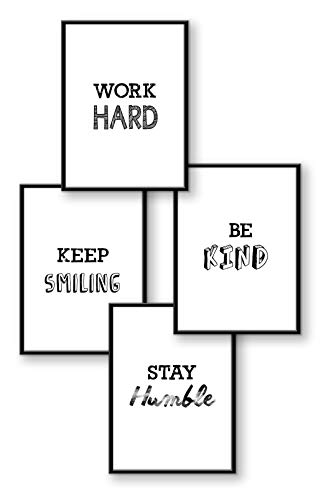 WIETRE® Premium Poster 4er-Set Motivation | Bilder mit Sprüchen Collage Life Goals | Bild schwarz weiß DIN A4 | Zimmer Deko Wohnung Wohnzimmer Büro Schlafzimmer Sprüche modern Dekoration - ohne Rahmen