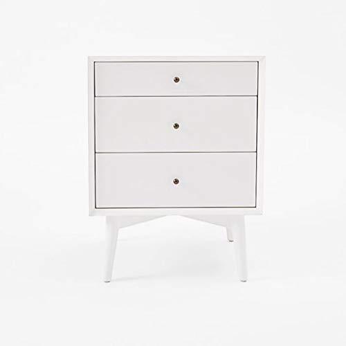 Mesas de noche de madera con 2 cajones para el hogar, muebles de archivado pedestal de noche de 52 x 46 x 67,8 cm (color: blanco)