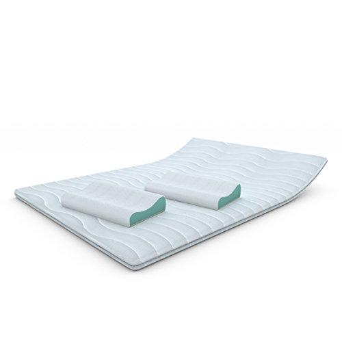 MSS® Kaltschaumtopper H4 + Gratis Gelschaumkissen / 200 cm x 180 cm + 2 Kissen, orthopädische Matratzenauflage mit versteppten Bezug