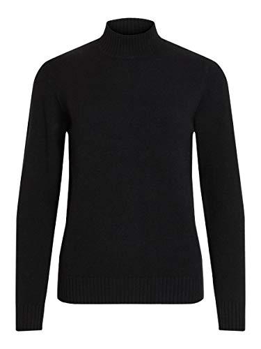 Vila Clothes Damen VIRIL L/S Turtleneck Knit TOP-NOOS Rollkragenpullover, Schwarz (Black), 38 (M)