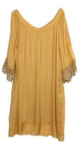 BZNA Ibiza Empire Sommerkleid Gelb Senfgelb Häkeldetails Seidenkleid Bozana Sommer Herbst Seidenkleid Damen Dress Kleid elegant