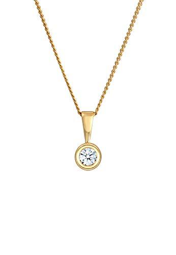 DIAMORE Halskette Damen Solitär Rund Kreis mit Diamant (0.10 ct.) in 585 Gelbgold