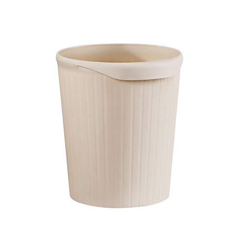 Hwerkf Creative rayé Trash Can, No Cover, Poignée Design, Maison Cuisine Salle de Bain Chambre, épais, 6L, Kaki (Color : Kaki, Taille : Small)