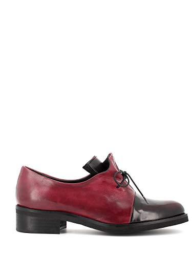 Pierfrancesco Vincenti Zapatos de mujer fabricados en Italia – Zapatos bajos de piel con punta brillante burdeos Size: 38 EU