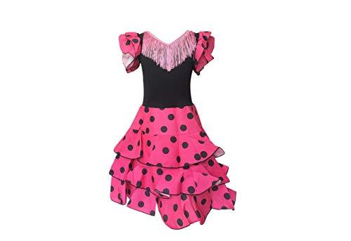 La Senorita Niño Deluxe - Disfraz de flamenco español para niña / niño - Rosa / Negro (talla 128-134 - Longitud 85 cm - 7-8 años)