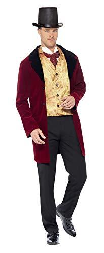 Smiffy's 43419 - Edwardian Gent Deluxe Kostüm mit Jacke Mock Weste und Krawatte, rot, L