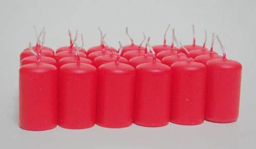 Baumkerzen/Mini-Stumpenkerzen 5x3 cm (24er Pack), rubinrot