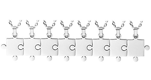 Kebaner Couple Friendship Jewelry BFF Best Friend 8 Piece Stainless Steel Necklaces Set Puzzle Necklace