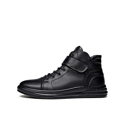 Datouya Men's Round Toe High-top Lace-up Leather Boots, Thick Rubber Sole, Warm and Comfortable Casual Shoes Provide The Best Comfort for Your All-Weather Life (Color : Black-Cotton, Size : 38 EU)