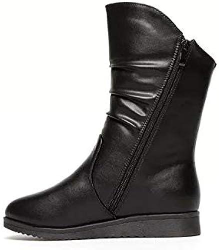 HOESCZS Chaussures Femmes Bottes Courtes Bottes Plates Femmes Nouveau Bottes Polyvalentes Bottes Plates Femmes Bottes Martin Enfants Hiver Cuir Bottes Femmes