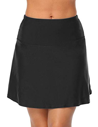 Hilor Women's High Waisted Swim Bottom Athletic Swimsuits Tankini Skirt with Panty