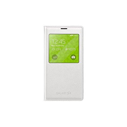 Samsung S-View - Funda para móvil Galaxy S5 (Inteligente, permite controlar funciones como la cámara, las notificaciones o las llamadas entrantes, impermeable), color blanco