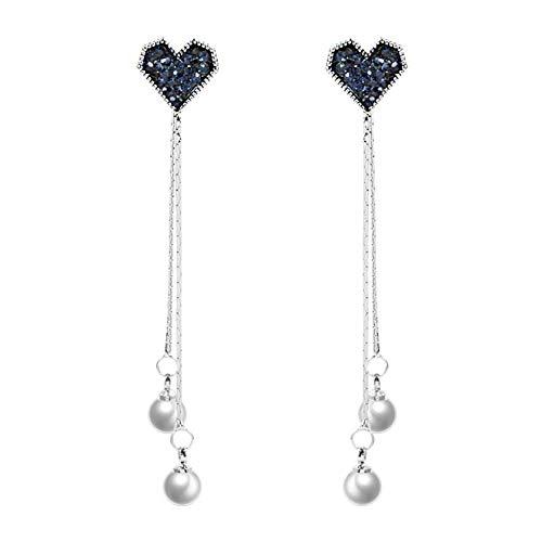 QQAAZZ Long Tassel Earring Heart Imitation Pearls Pendant Ear Studs Jewellery Accessories Ornament Birthday Gift for Women