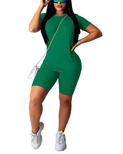 Women 's Casual 2 Piece Outfits Solid Crop Top Short Pants Outfit Sports Yoga Suit Tracksuit Jumpsuits (Green, Small)