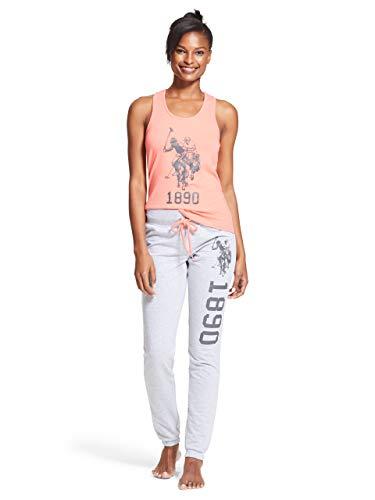 U.S. Polo Assn. Womens 2 Piece Tank Top Shirt Elastic Waist Pajama Yoga Sweatpants Coral X-Large