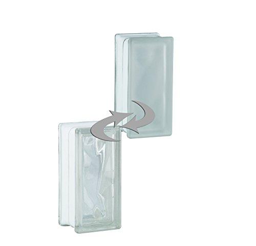 6 Stück BM Glassteine Wolke SUPER White 1-seitig satiniert (Milchglas) 19x9x8 cm - Halbstein