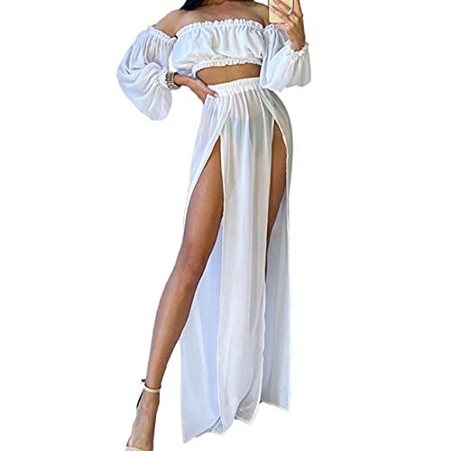 2 Piezas Bikini Cover Up con Estampado Leopardo Vestido de Playa Cubierta de Mujer Traje de Baño Crop Top de...