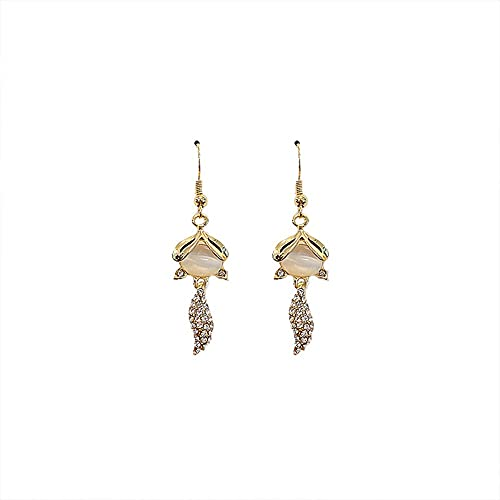 YONGYAN Long Earrings for Women Female Cat's Eye Earrings with Diamonds and Small Fox Earrings All-Match Small Ear Hooks (Color : A)