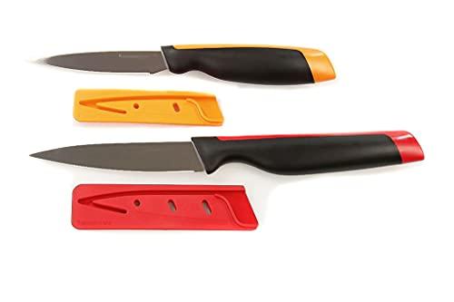 TUPPERWARE Couteau d' office rouge + Couteau à éplucher orange