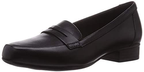 Clarks Damen Juliet Coast Penny Loafer Flach, Black Leather, 42 EU