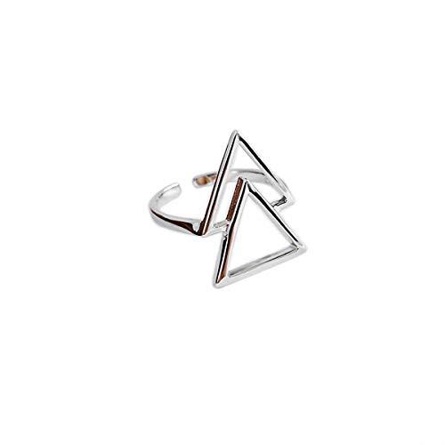 Esberry Anello in argento Sterling massiccio, con doppio triangolo aperto aperto in stile naturale, fatto a mano, gioiello unico regalo per donne