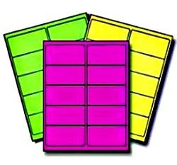 150 LabelOutfitters.com Fluorescent Neon Labels 4 x 2 inches, Laser Only, 5 Sheets (50 Labels) Each of Neon Green, Neon Yellow and Neon Magenta